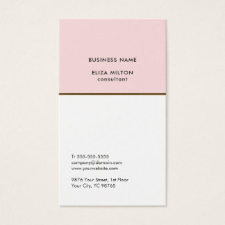 Elegant White Pale Pink Copper Line Consultant Business Card