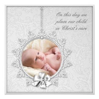 """Elegant White Photo Christening 5.25"""" Square Invitation Card"""