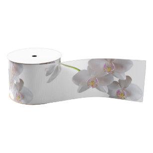 Elegant White Pink Orchids on Any Colour Grosgrain Ribbon