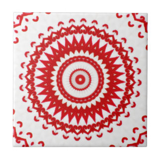 Elegant White Red Scandinavian Folk Lace Textile Ceramic Tile