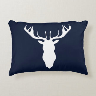 Elegant White Reindeer Silhouette on Navy Blue Decorative Cushion