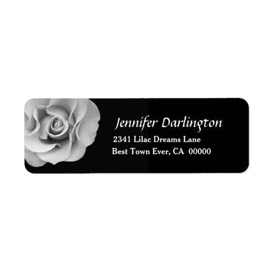 Elegant White Rose A01 Return Address Label