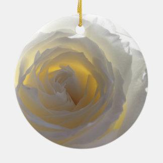Elegant White Rose Christmas Ornaments