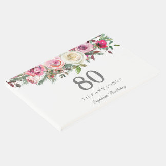 Elegant White Rose Floral 80th Birthday Guest Book