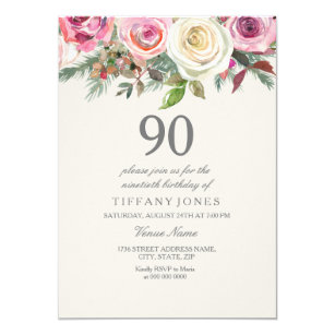 Elegant White Rose Floral 90th Birthday Invite