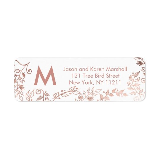 Elegant White Rose Gold Floral Address Labels