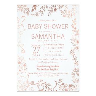 Elegant White Rose Gold Floral Baby Shower Card