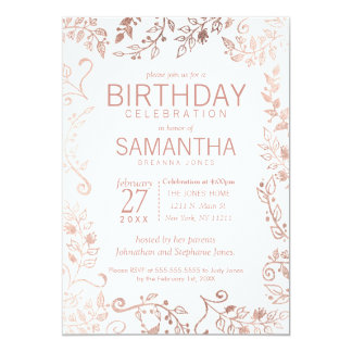 Elegant White Rose Gold Floral Birthday Party Card