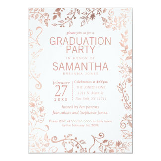 Elegant White Rose Gold Floral Graduation Party Card