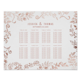 Elegant White Rose Gold Floral Seating Chart