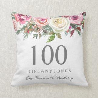 Elegant White Rose Pink Floral 100th Birthday Cushion