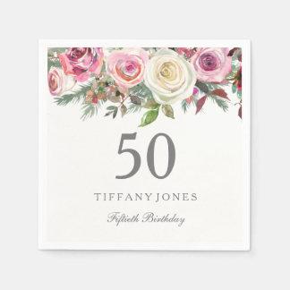 Elegant White Rose Pink Floral 50th Birthday Disposable Serviettes