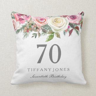 Elegant White Rose Pink Floral 70th Birthday Cushion