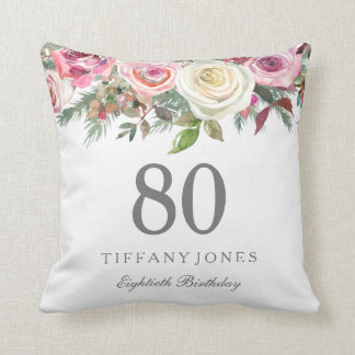 Elegant White Rose Pink Floral 80th Birthday Cushion
