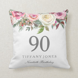 Elegant White Rose Pink Floral 90th Birthday Cushion