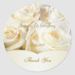 Elegant white rose Thank you Wedding Sticker