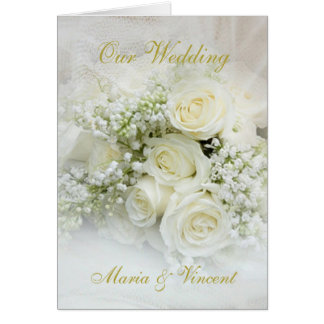 Elegant white roses bouquet Wedding Greeting Card