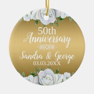 Elegant White Roses Over Gold Background Ceramic Ornament