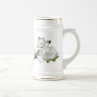 Elegant White Roses Steins Beer Steins