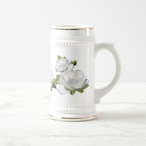 Elegant White Roses Steins Mugs