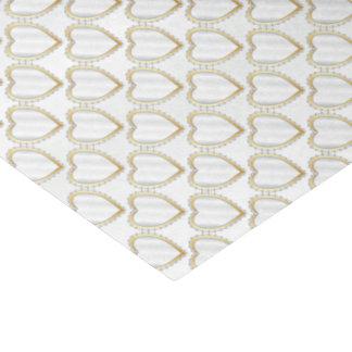 Elegant White Satin Diamond Hearts Tissue Paper