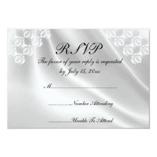 Elegant White Satin, Lace Wedding RSVP Invitations