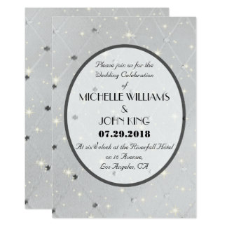Elegant White & Silver Pattern Wedding Invitation