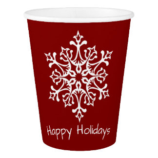 Elegant White Snowflake On Red Happy Holidays Paper Cup