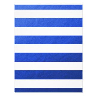 "Elegant White Stripes Blue Foil Printed 8.5"" X 11"" Flyer"