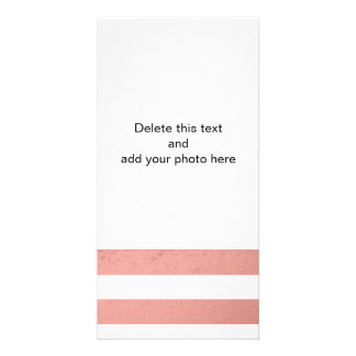 Elegant White Stripes Coral Pink Foil Printed Personalized Photo Card