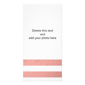Elegant White Stripes Coral Pink Foil Printed Photo Card