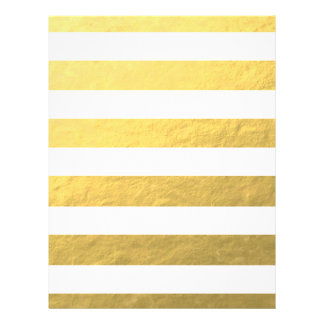 "Elegant White Stripes Gold Foil Printed 8.5"" X 11"" Flyer"