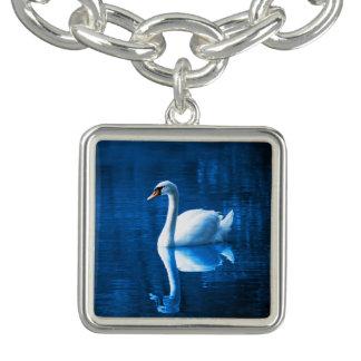 Elegant White Swan Calm Blue Lake