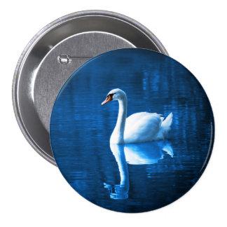 Elegant White Swan Calm Blue Lake 7.5 Cm Round Badge