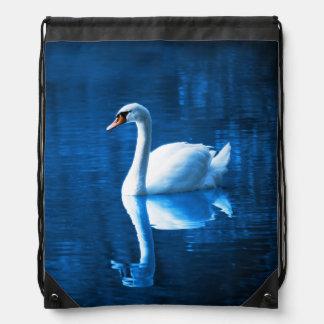 Elegant White Swan Calm Blue Lake Drawstring Bag