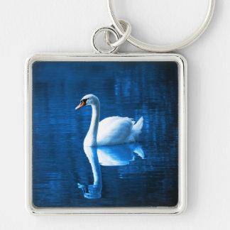 Elegant White Swan Calm Blue Lake Key Ring