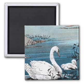 Elegant White Swan With Baby Refrigerator Magnets