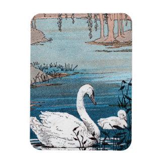 Elegant White Swan With Baby Rectangular Photo Magnet