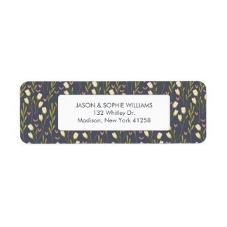 Elegant White Tulip Floral Return Address Label