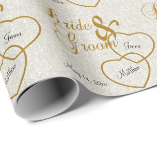 Elegant White Wedding Confetti and Gold Lettering Wrapping Paper