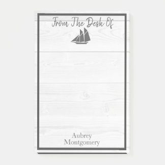 Elegant White Wood & Gray Nautical Sailboat Post-it Notes