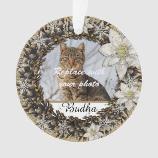 Elegant White Wreath Dog or Cat Pet Memorial Ornament