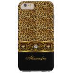 Elegant Wild Leopard Black Gold Jewel Tough Tough iPhone 6 Plus Case