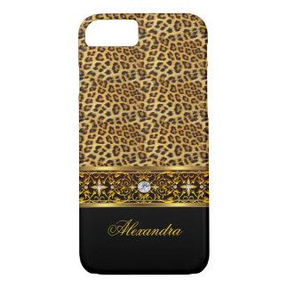 Elegant Wild Leopard Black Gold Jewel Trim iPhone 7 Case