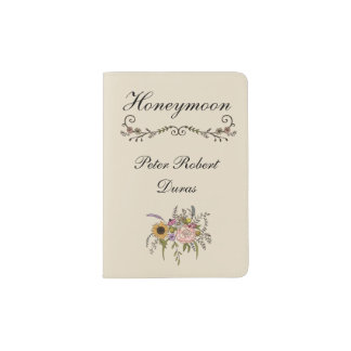 Elegant Wildflower Grooms Custom Passport Holder