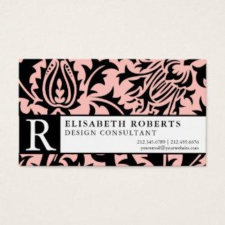 Elegant William Morris Pink and Black Floral Business Card