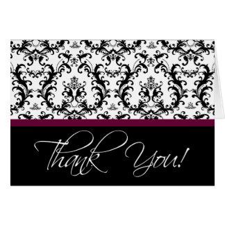 Elegant Wine Red Black Damask Thank You Cards