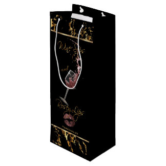 Elegant Wine Sips and Rosey Lips - Thank You Wine Gift Bag