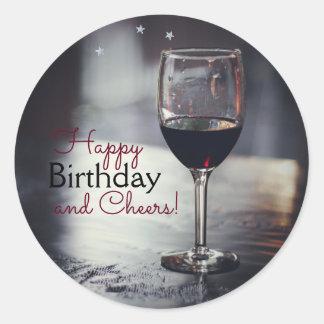Elegant Wine-Themed Birthday Stickers