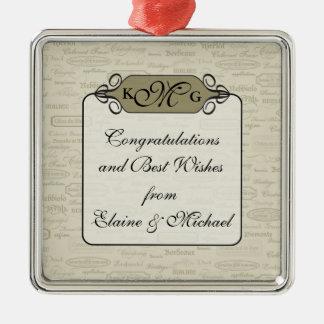 Elegant Wine Varietal Gift Charm Metal Ornament
